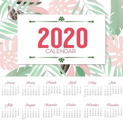 vacker blommig 2020-kalenderdesign vektor