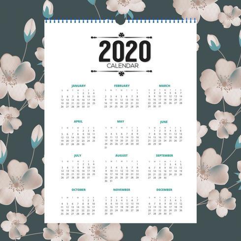 2020 blommig kalenderdesign vektor