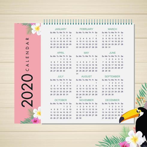 2020 tropisk kalenderdesign vektor