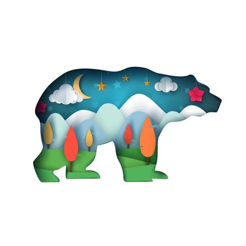 Bear illustration. Tecknad papperslandskap. vektor