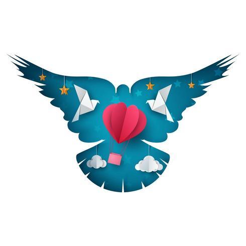 Taube, Luftballonillustration. Cartoon Papierlandschaft. vektor