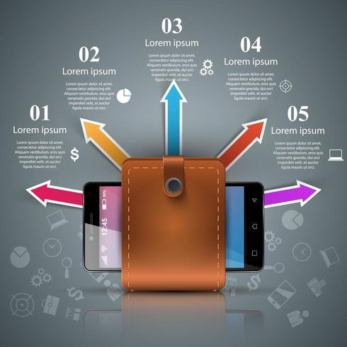 Smartphone, plånbok, kontanter - infographic affär. vektor
