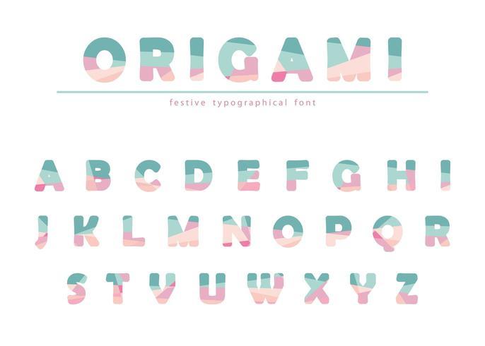 Festligt stilsort för modern origami i pastellfärger. vektor