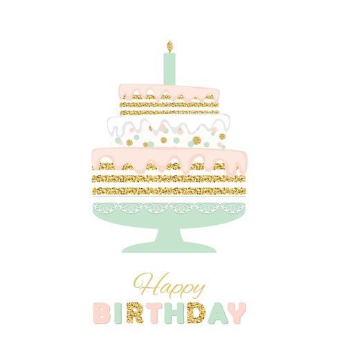 Födelsedagstårta med glitter som isoleras på vit. vektor
