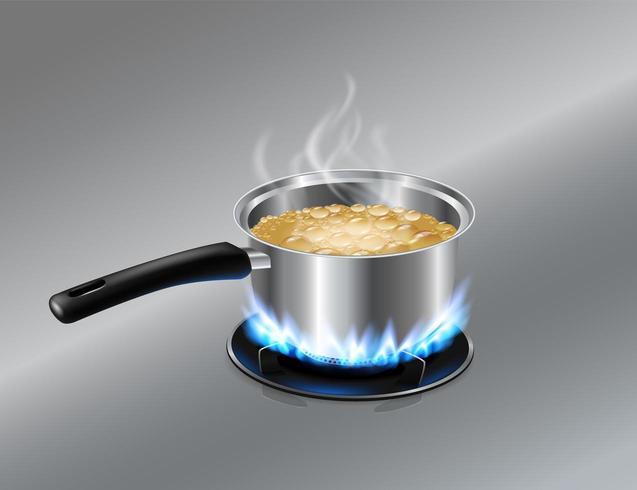 Rostfritt stål med kokande vätska på spis vektor