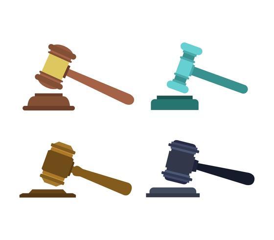Domare hammare Ikonuppsättning vektor