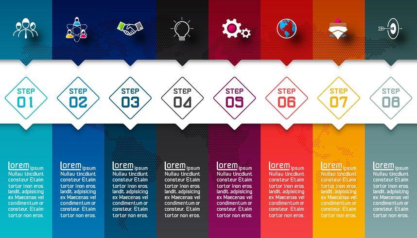 Färgglada staplar med affärsikoninfografik. vektor