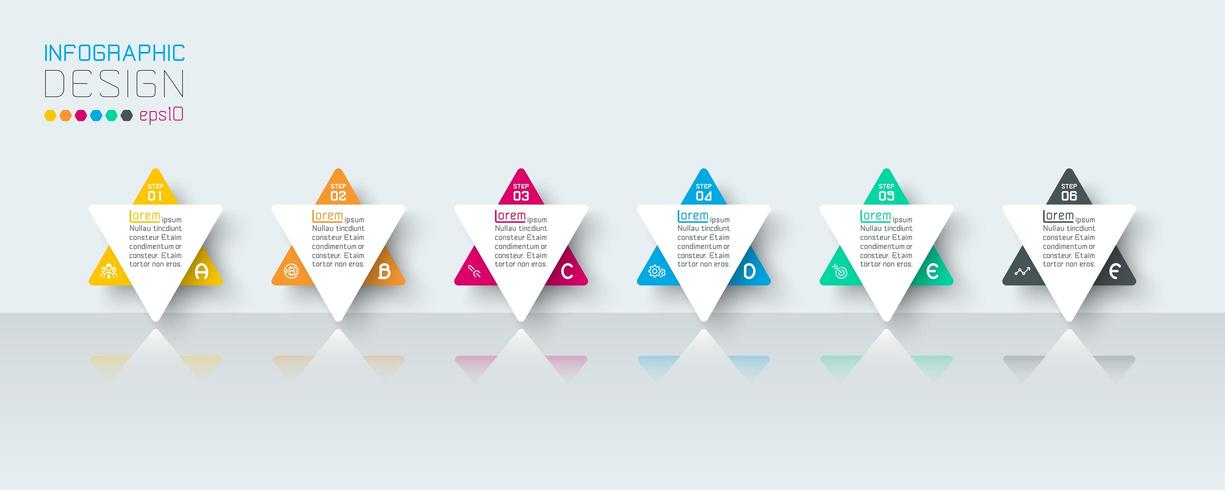 Business-Infografik mit 6 Schritten. vektor
