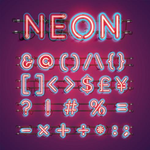 Zwei farbige Neonzeichensatz-Vektorillustration des doppelten Anschlags vektor