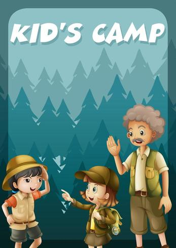Ungen som går camping i skogen vektor