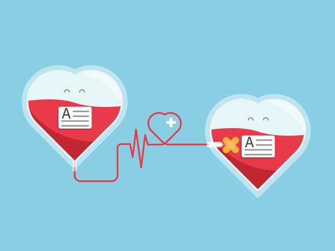 bloddonation som ger blod från hjärta till hjärta vektor