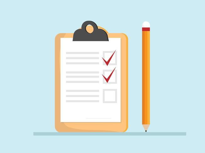 Checklistenpapier in der Zwischenablage vektor