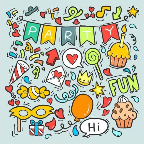 Handgezeichnete Doodle Party vektor