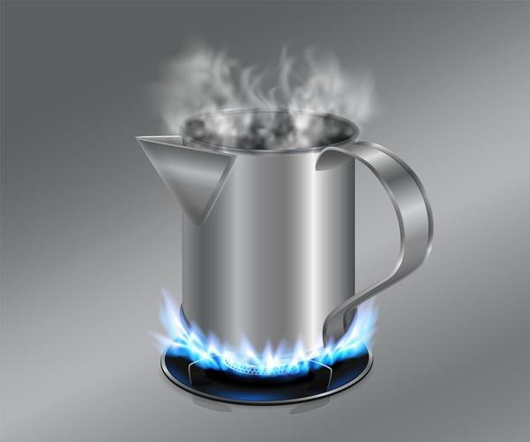 Ånga te eller kaffekanna i rostfritt stål vektor