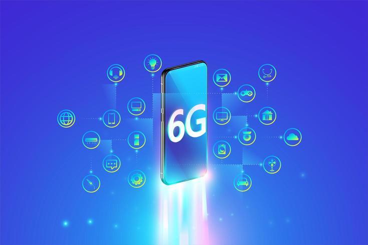 6G-system snabbast internetanslutning med smartphone och Internet of Things-koncept vektor