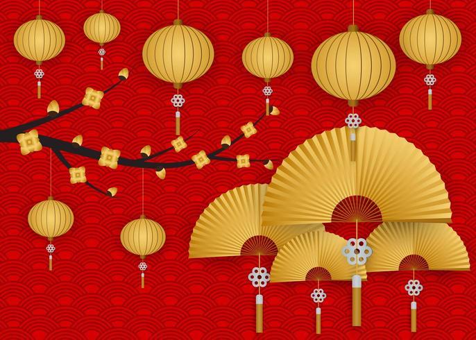 Kinesisk hälsning för lyktor för träd för blommor för nytt år vektor