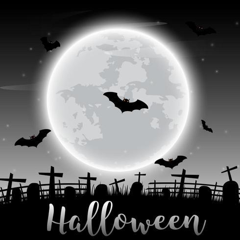 Halloween-Text und dunkles Schloss und Schläger auf Mondhintergrund vektor