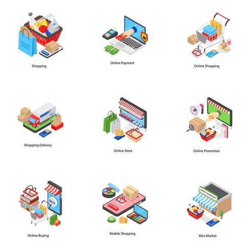 E-handel isometriska ikoner vektor