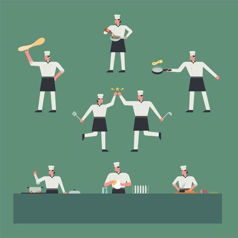 Köche, die mit verschiedenen Kochutensilien kochen. vektor