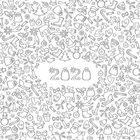 Jul hälsning för nytt år 2020 vektor