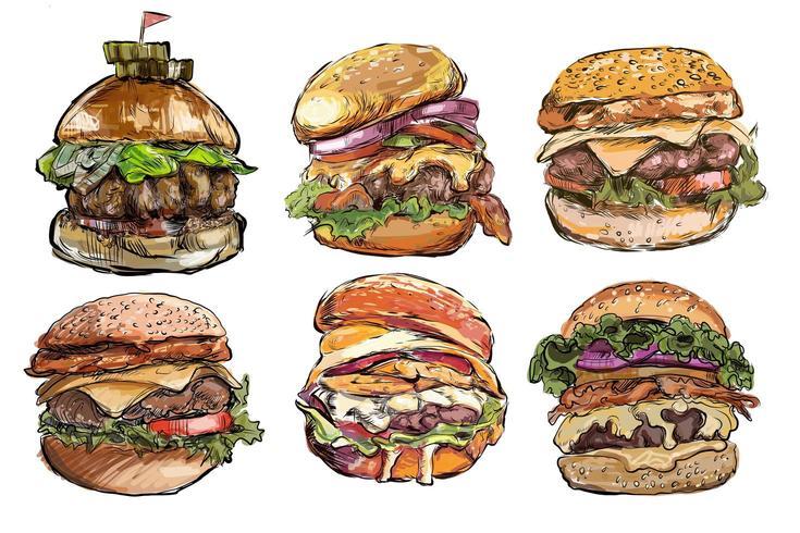 Große Hamburger hand gezeichneten Satz vektor