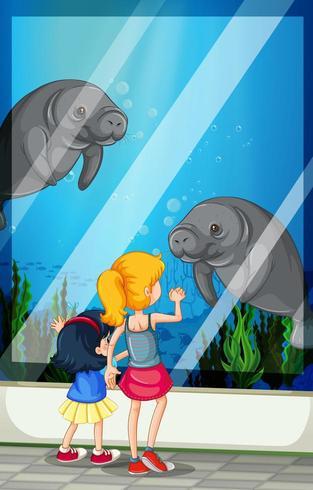 Kinder suchen Besuch Aquarium vektor