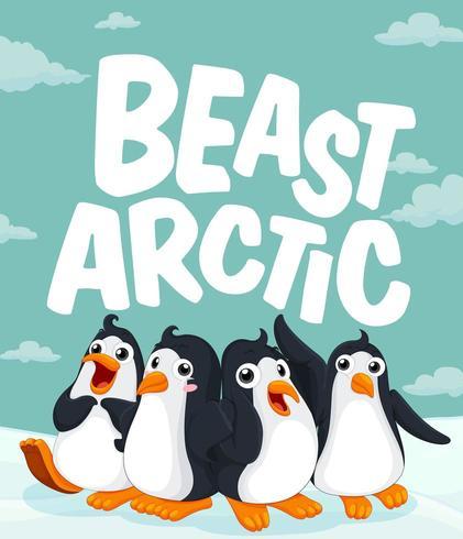 Pinguine stehen auf Eis vektor