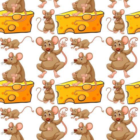 Nahtlose Maus- und Käsescheibe vektor