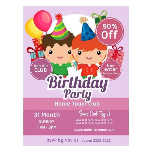 födelsedagsfest inbjudningsmall söta barn vektor
