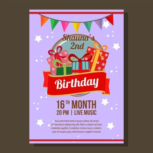 flache Geburtstagsfeier Einladung Thema mit Geburtstagsgeschenkkarton vektor