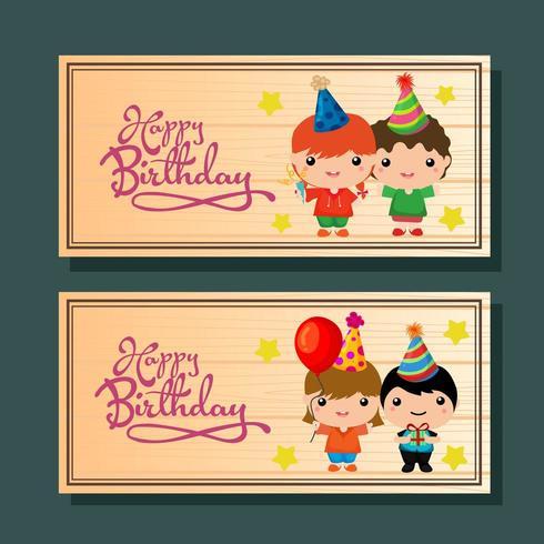 födelsedag horisontella banner med söta barn vektor