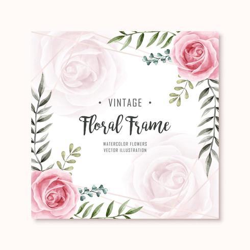 Akvarell blommig rosblommor ram mångsidig bakgrund vektor