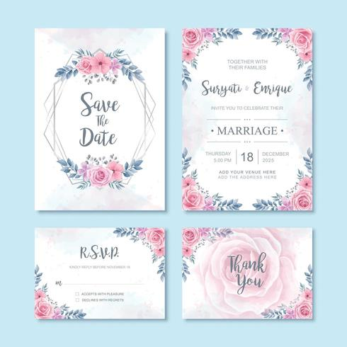 Aquarell-Blumenblumen-Hochzeits-Einladungs-Karten-Dekoration vektor