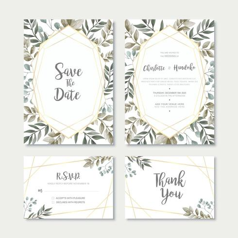 Akvarell lämnar bröllop inbjudningskort malluppsättning vektor