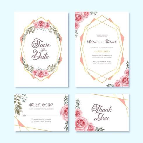 Bröllopinbjudningskort med blommig dekoration för akvarellblomma vektor