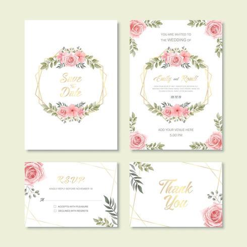 Hochzeits-Einladungs-Karten-Schablone mit Weinlese-Aquarell-Blumen-Dekoration vektor