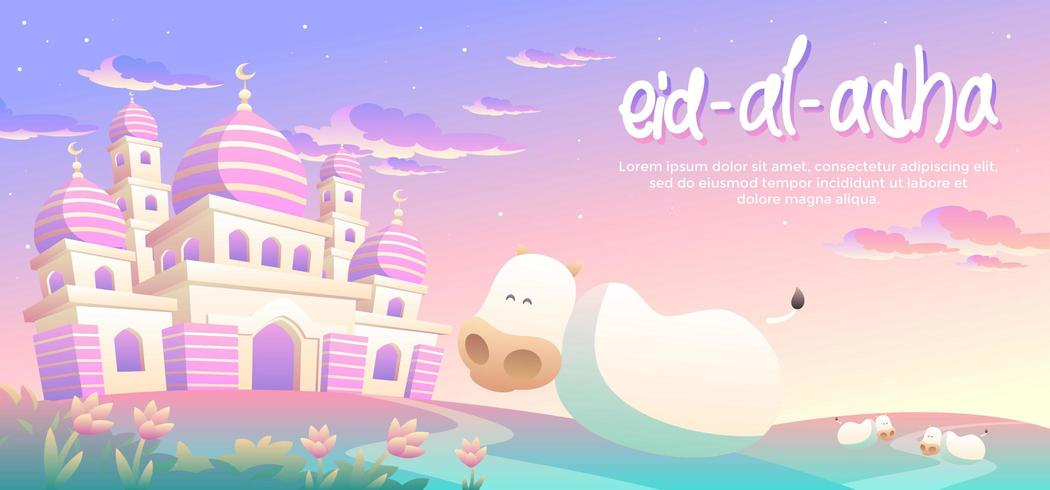 Eid Al Adha Mit Glücklichen Kühen Am Nachmittag vektor