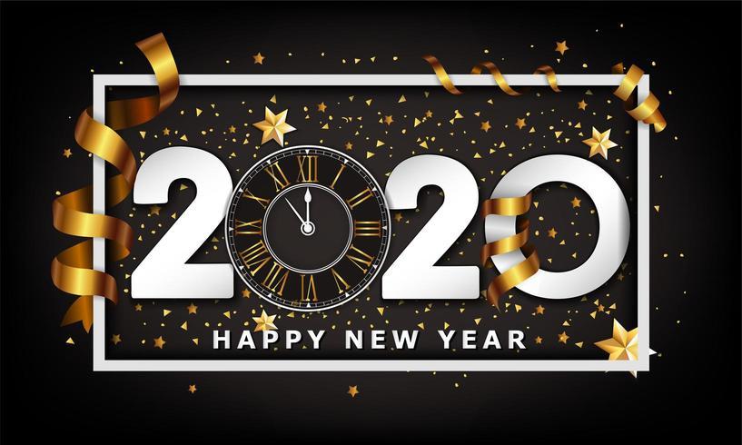 Typografischer kreativer Hintergrund 2020 des neuen Jahres vektor