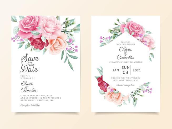 Schöner Hochzeitseinladungskarten-Schablonensatz vektor