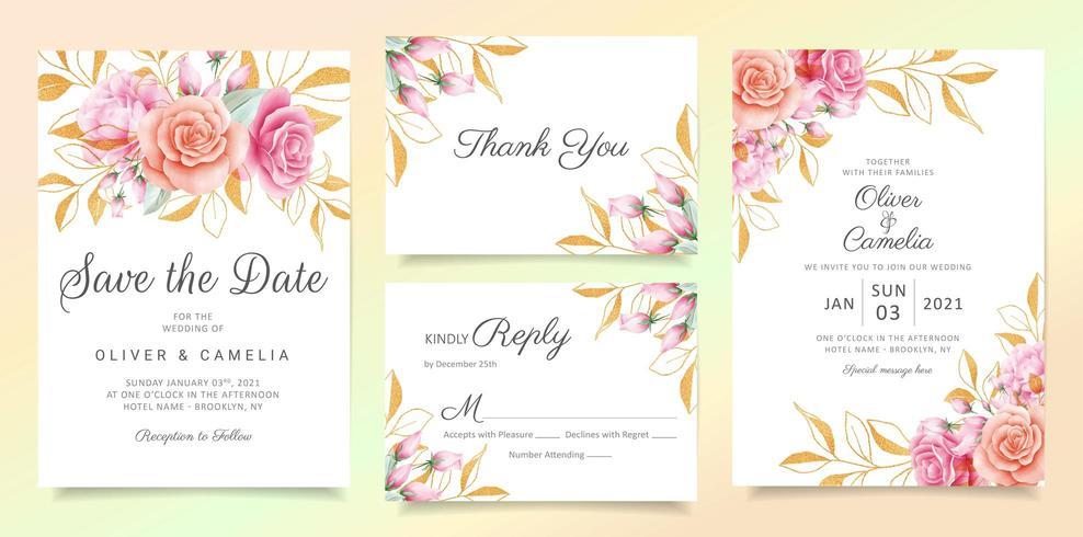 Blumen mit Funkeln verlässt Hochzeitseinladungskarten-Schablonensatz vektor