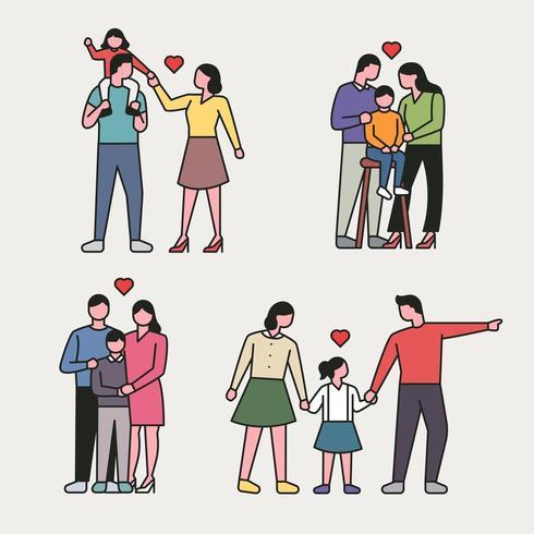 disposition stil lycklig familj karaktär uppsättning. vektor