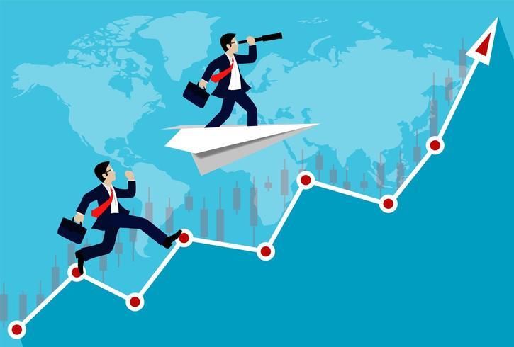 Affärsmankonkurrens på en vit pil vektor