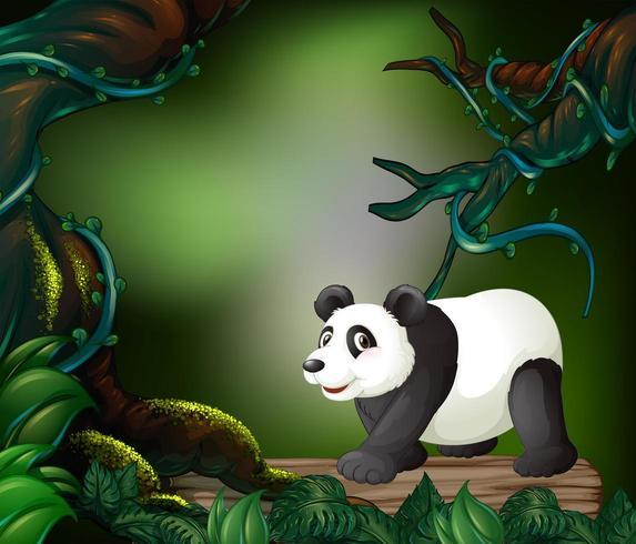 Lös panda i skogen vektor