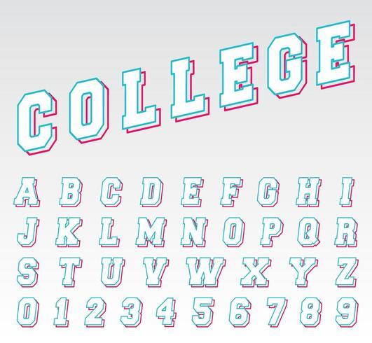 Alfabetlinjen typsnitt mall vektor