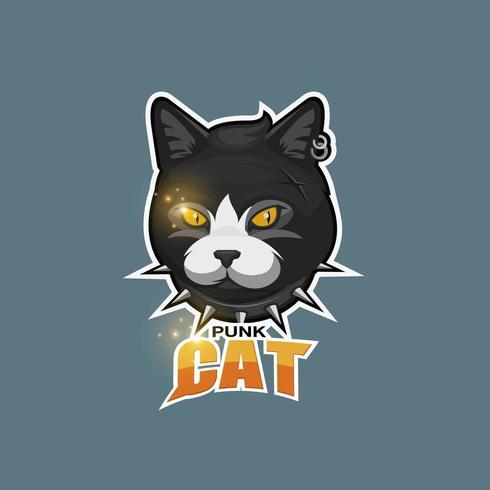 Punk katt logotyp vektor