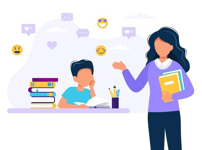 Kvinnlig lärare och pojke som studerar. Begreppsillustration för skola, utbildning. Vektorillustration i platt stil vektor