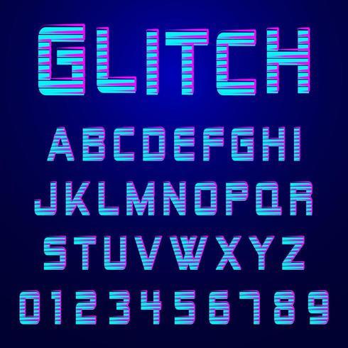 Alfabetsteckensnitt glitch effekt design vektor