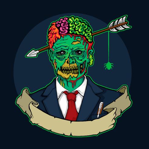 Zombiemanager mit Pfeil im Kopf vektor