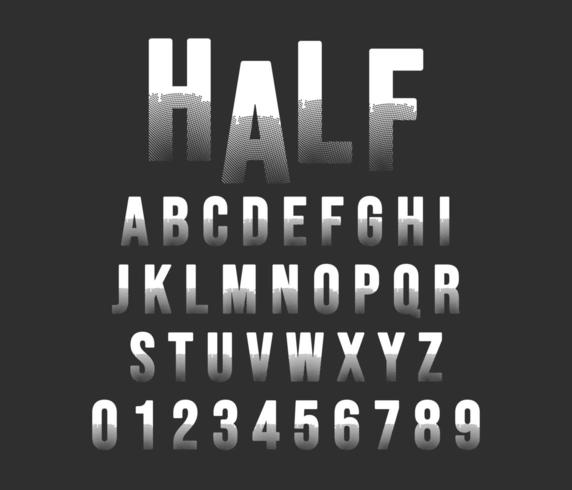 Halvton alfabetet typsnitt mall vektor