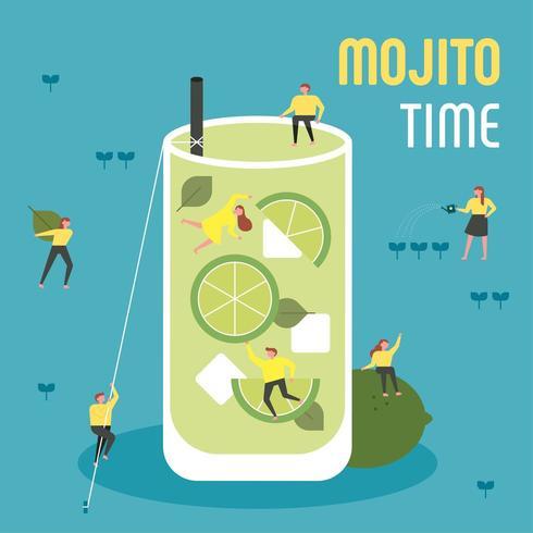 Små människor dricker jätte- mojito. vektor